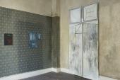Carola Deye: Jeansmangel, 2010. Installation view