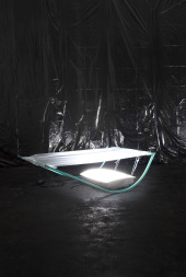Boosted EXL5006M, 2014. Light therapy lamps, custom-made metal frames, car paint and pvc foil, 30 x 70 x 100 cm