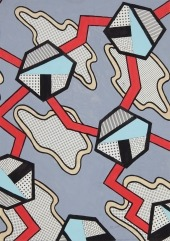 Nathalie Du Pasquier: Project for a surface, 1982. Gouache and photocopy on paper, 71,5 x 51,5 cm (framed)